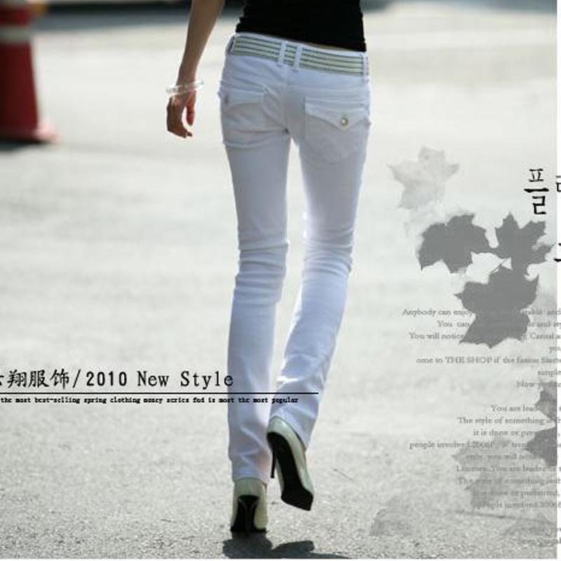 Free shipping 2013 Slim elastic women's jeans Skinny women jeans White Black Promotions-inJeans from Apparel & Accessories on Aliexpress.com