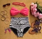 Bow Zebra High Waist Bikini  - Shopaholic
