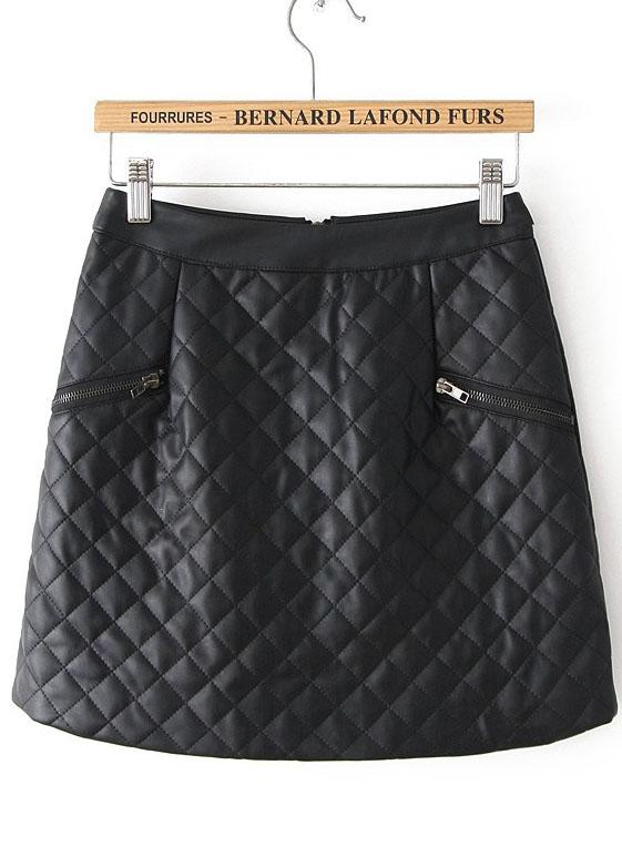 Black Plaid Zipper Leather Skirt - Sheinside.com
