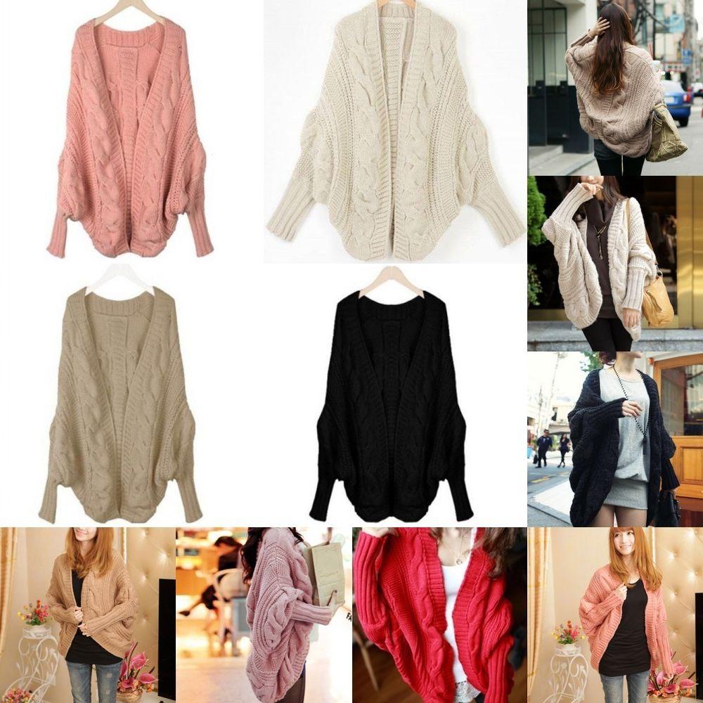 Womens Fashion Winter Knitted Cardigan Batwing Outwear Casual Coat Sweater Tops | eBay