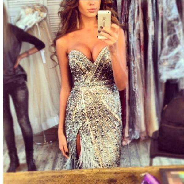 dress silver glitter silver dress pretty prom dress sparkle gorgeous evening dress sweetheart neckline thigh high slit sequined bodice strapless silver