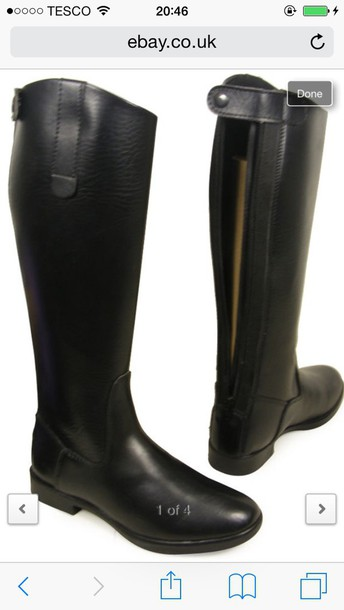 shoes black high knee boots