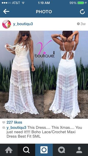 dress boho lace crochet maxi dresss