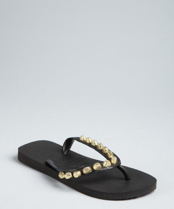 Dini's Los Angeles black rubber studded thong flip-flops | BLUEFLY up to 70% off designer brands