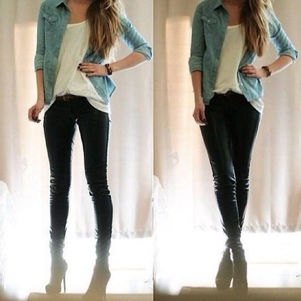 blouse jeans shoes shrirt pants jacket denim shirt jeans heels white shirt tank top