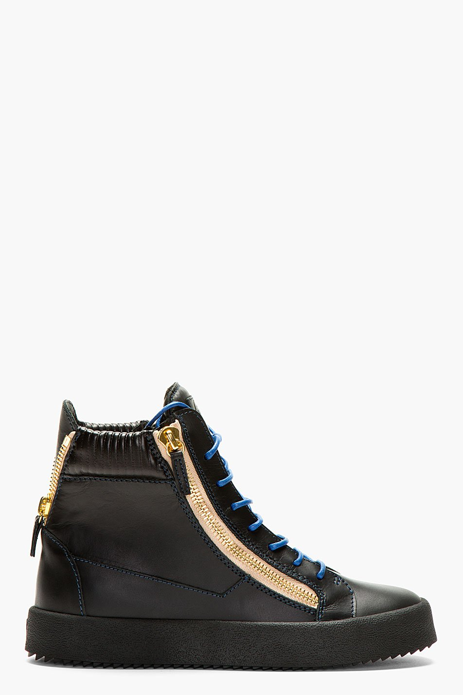giuseppe zanotti black leather contrast laces high_top sneakers
