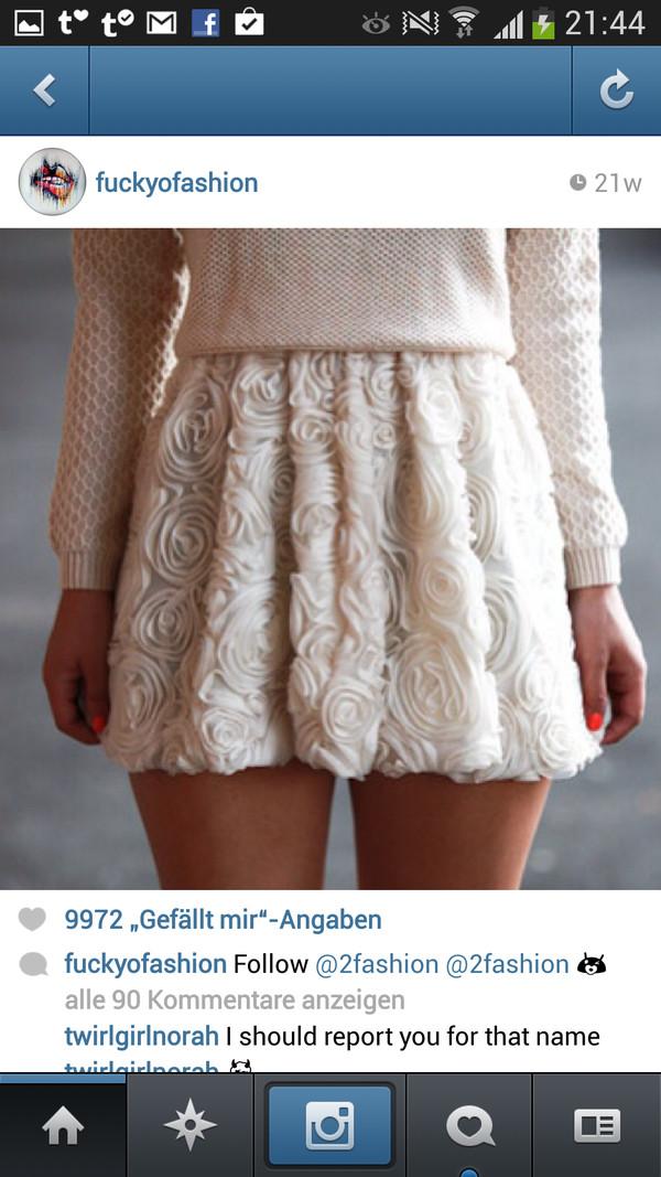 skirt beige cute rose