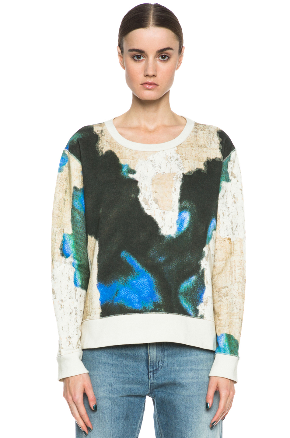 Acne Studios|Cotton Angle Printed Sweatshirt in Petrol Blue