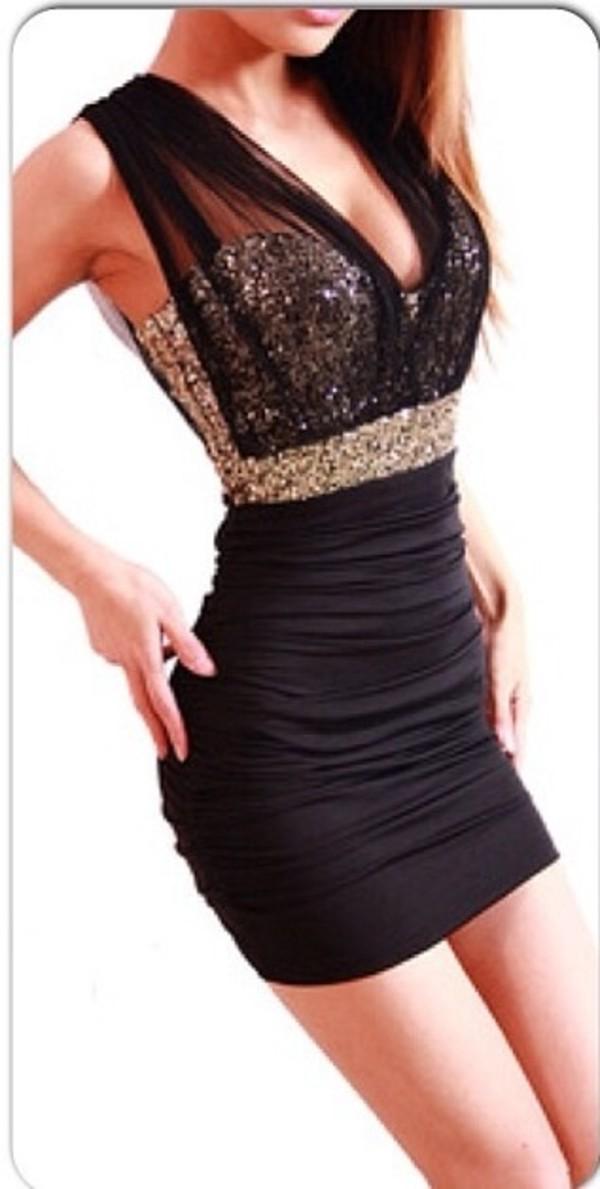 dress gold glitter little black dress black