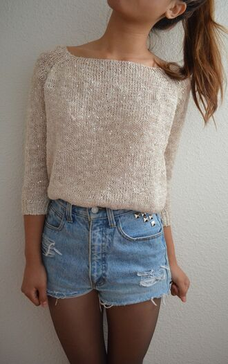 sweater gold shimmer beige shoes mexico shorts sequins sequin sweater cream cream sweater high waisted shorts studs tights studded shorts sequin shirt blouse sweater light cute summer shirts stud shirt shorts???? demin shorts bright crop tops cool girl style creme denim shorts acid wash high waisted