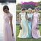 Lace chiffon maid of honor dresses real image plus size cap sleeve pink mint dafidol cheap bridesmaid party evening gowns 2016 spring custom online with $87.44/piece on gaogao8899's store | dhgate.com