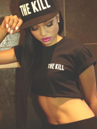 shirt kill word the black crop tops crop top hat