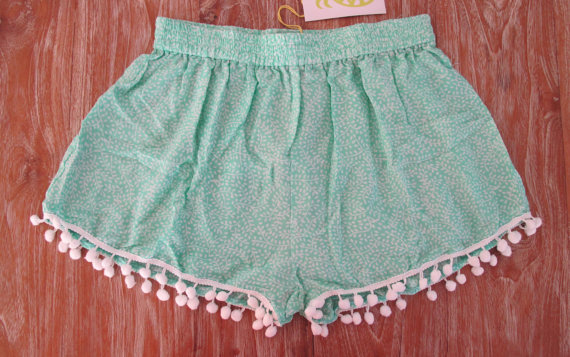 Pom Pom Shorts  Mint Mini Leaf Print  Gym/Beach by ljcdesignss