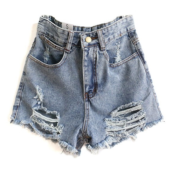Denim Shorts In Distressed Finish at Style Moi