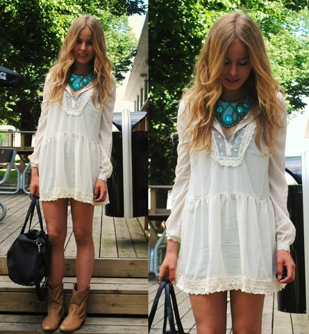 Bag, Indiska Necklace, Nelly Outlet Dress - IT'S A BEAUTIFUL DAY - Frida Johnson | LOOKBOOK