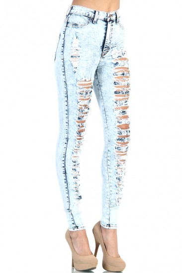 OMG Distressed High Waist Jeans - Light Acid Wash