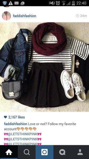 top striped top black skirt denim jacket