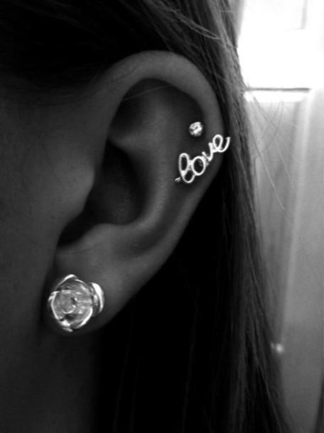jewels love rose stud ear diamonds earrings helix piercing