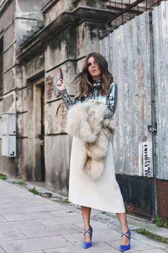 blouse tumblr sequin blouse long sleeves sequins silver sequins skirt midi skirt white skirt shorts shoes blue shoes pumps pointed toe pumps high heel pumps fur fur scarf