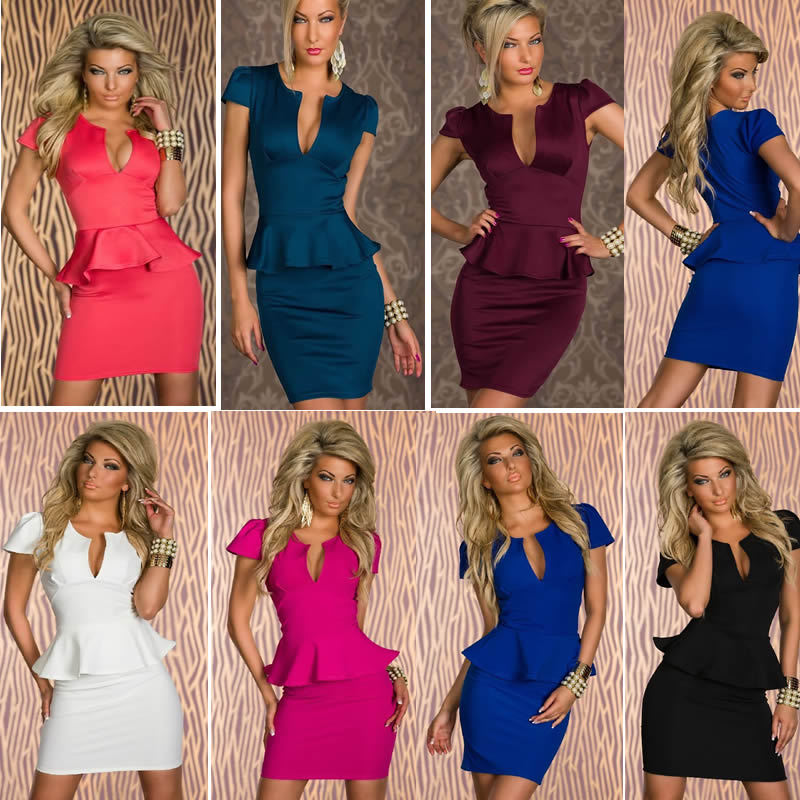 7 Color S M L XL Plus Size 2013 New European Fashion Women Popular Bodycon Peplum Bandage Dress Casual Dress N118-in Dresses from Apparel & Accessories on Aliexpress.com