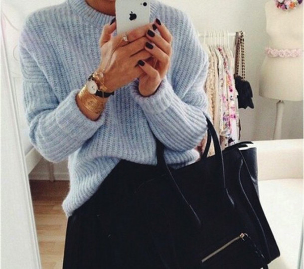 sweater blue sweater perfect sweater ribbed sweater bag jewels fluffy fur coat blouse
