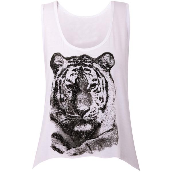 Dressrail.com - Tiger Face Glitter Print Hanky Hem Cropped Top - Polyvore