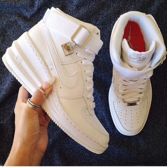 shoes nike air force 1 nike air nike force high tops nike sportswear sneakers nike sneakers baskets wedges high top buckles