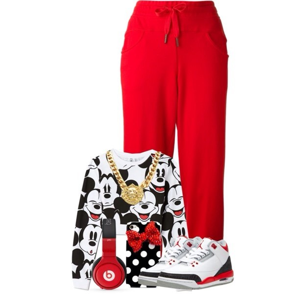 pants red mickey mouse