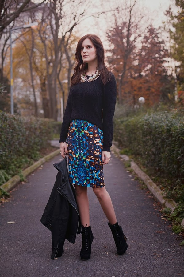 the bow-tie skirt sweater jacket shoes jewels