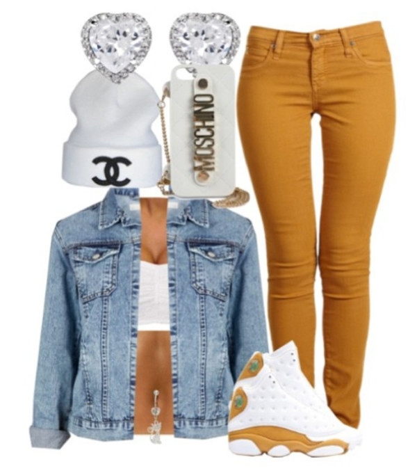 jeans phone cover hat shoes jewels