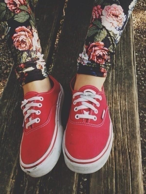pants floral leggings flowered jeans vans vans printed leggings printed leggings floral shoes red vans