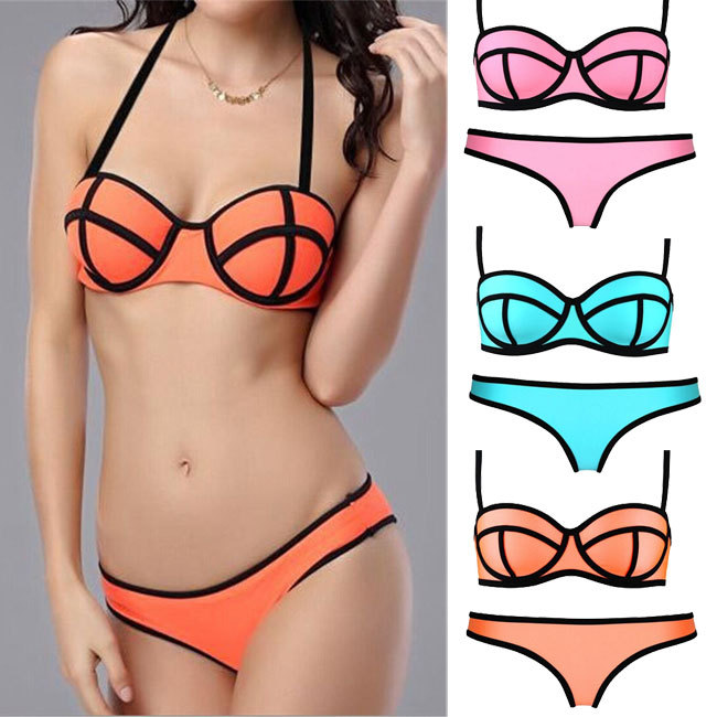 lady Neoprene Swimsuit Set fashion Push Up 2014 Sexy women bra set Fashion Swimwear MILLY Neoprene Triangle Bikinis set-in Bikinis Set from Apparel & Accessories on Aliexpress.com