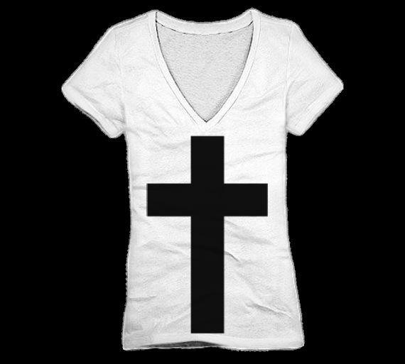 Haute Cross V Neck T Shirt for Women in White with Black Ink | eBay