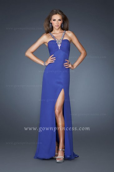 Beading Neckline Side Split Long Royal Blue Homecoming Dresses La Femme 18956 [La Femme 18956] - $166.00 : Juniors' Dresses | Homecoming Dresses for Juniors