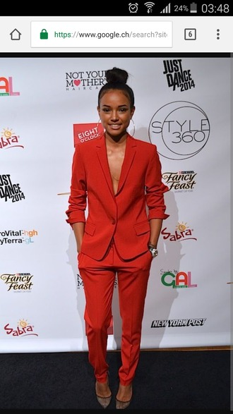 coat blazer pants red karrueche