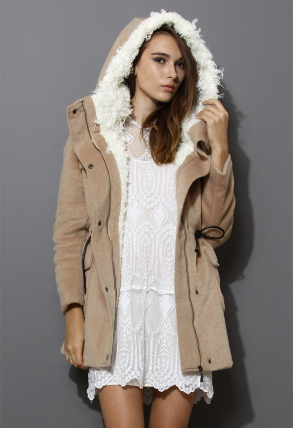 coat belted shearling hooded camel