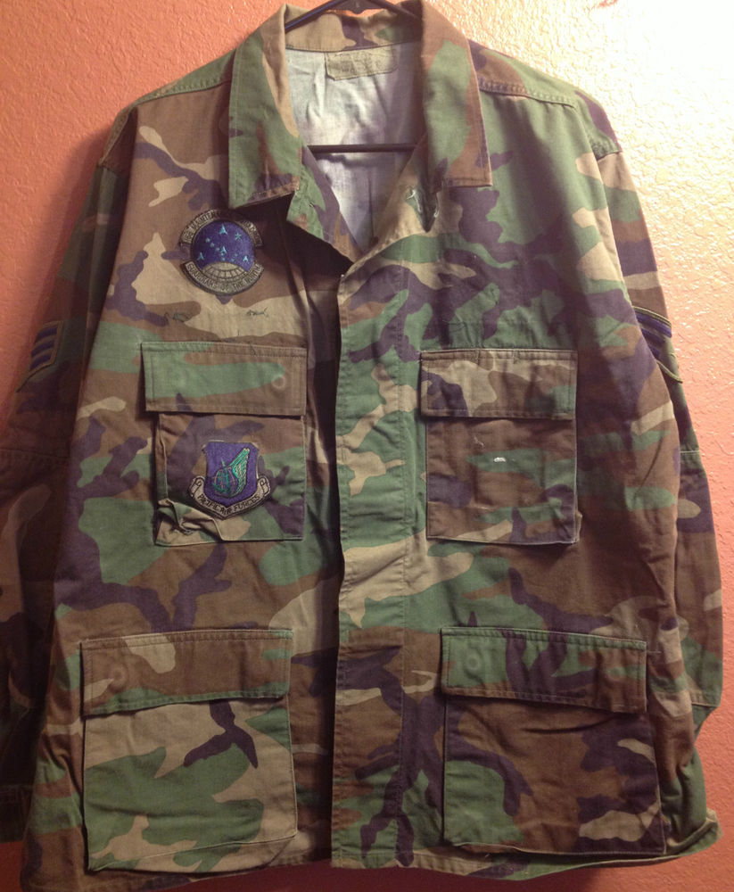 Military BDU Blouse Top Large Short Woodland Camo Print Shirt Hunting Preppers | eBay