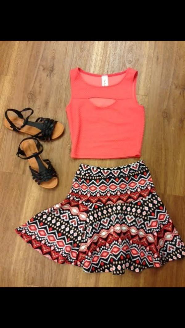 skirt iris design aztec flare skirt coral tank top