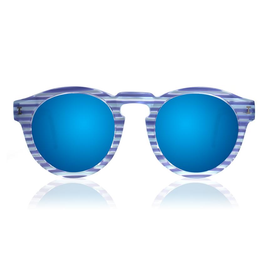 Leonard Light Blue Stripes with Blue Mirrored Lenses | illesteva