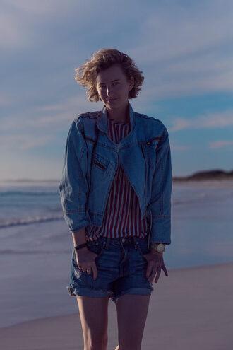 zanita blogger shorts striped shirt denim jacket denim shorts jewels shirt jacket