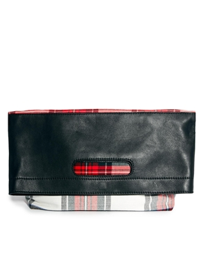 ASOS   ASOS Leather And Check Grab Clutch at ASOS