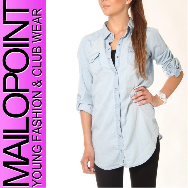 9166 Only Rock It Oversize Damen Langarm Jeans Hemd Shirt Buse Hellblau | eBay