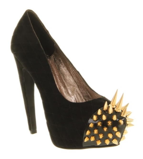 shoes high heels gold black spiked shoes spikes spiked shoes