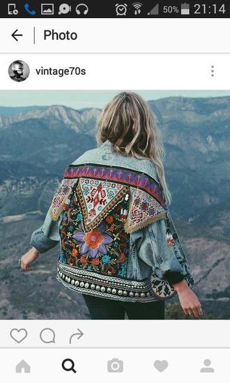 jacket denim jakcet denim jeans veste veste en jean motifs broided brodered amerindian indian color/pattern colorful vitange indie boho gypsy gipsy style embroidered
