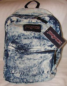 Jansport Backpack Denim Daze Acid Wash Jean Blue White Distressed Student | eBay
