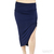 Bella Luxx Tissue Jersey Shirred Cut Away Skirt in Navy Blue / TheFashionMRKT