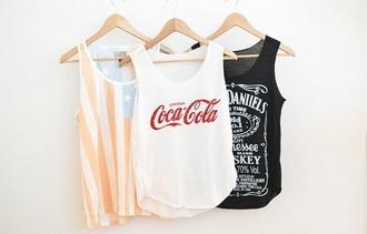 tank top coca cola shirt punk american flag jack daniel's hipster t-shirt coca-cola red america