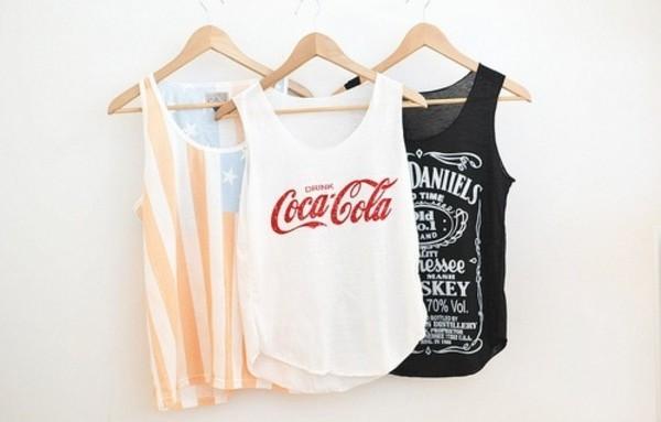 tank top coca cola shirt punk american flag jack daniel's hipster t-shirt coca-cola red america t-shirt