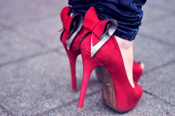 shoes pink high heels bow high heels