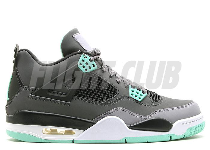 """air jordan 4 retro """"green glow"""" - drk grey/grn glw-cmnt grey-blk - Air Jordan 4 - Air Jordans    Flight Club"""
